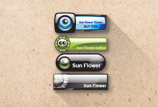 sunflower button vector