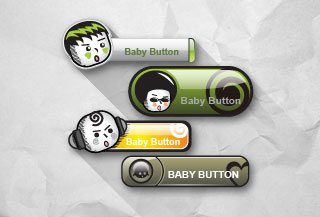 Cute Kids Button Vectors