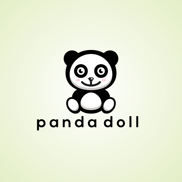 cute doll panda logo vector template