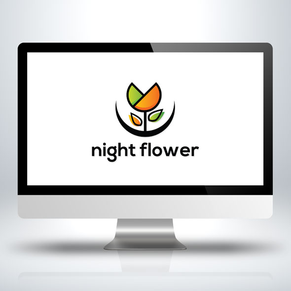 night flower vector logo template