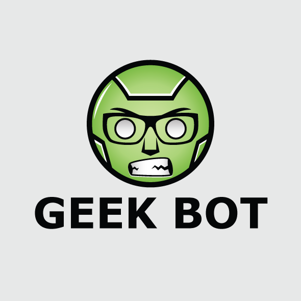 geek bot logo vector template