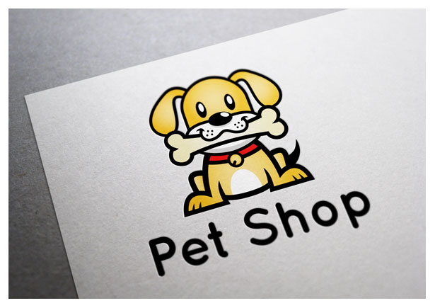 pet shop logo template in vector - dog character in paper