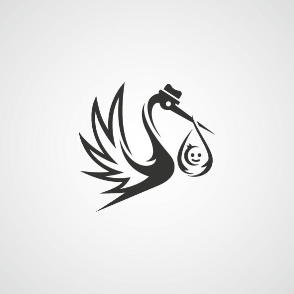 A stork is bring a baby fly - stork logo