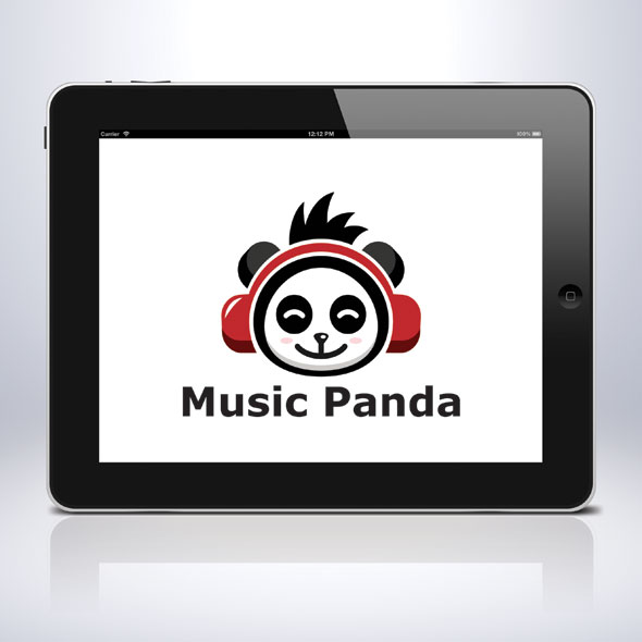 music-panda-animal-song-sing-earphone-logo-template-bevouliin