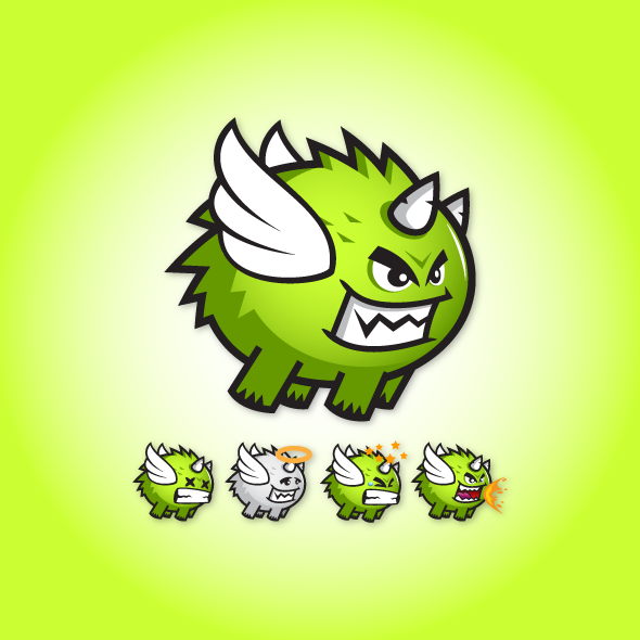 green-fur-monster-beast-creature-game-character-sprite-sheet-sidescroller-game-asset-flying-flappy-animation
