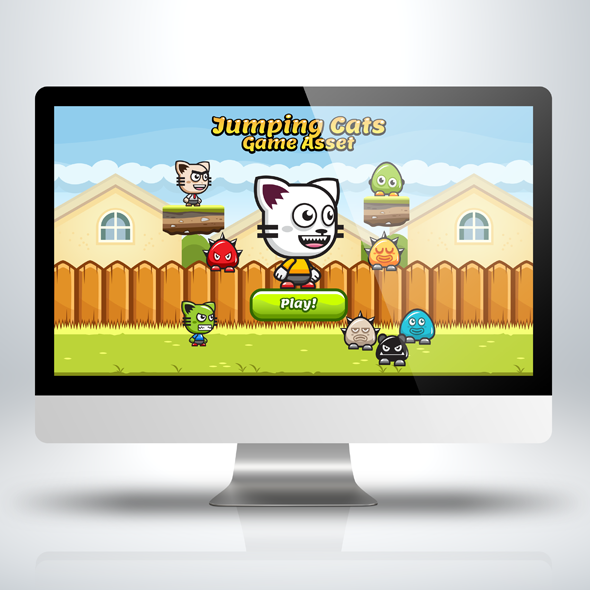 Game Asset - Jumping and Running Cats Game Character Sprite Sheets