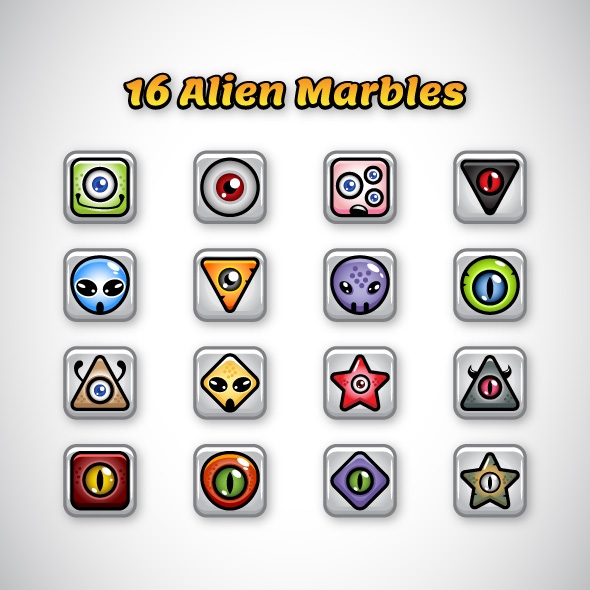 16 Alien Marbles for Game Developers