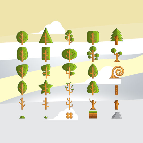 Tree-game-asset-vector-decorations-obstacles-element-game-character-sprite-sheet-sidescroller-game-asset-gui-mobile-games-gameart-game-art