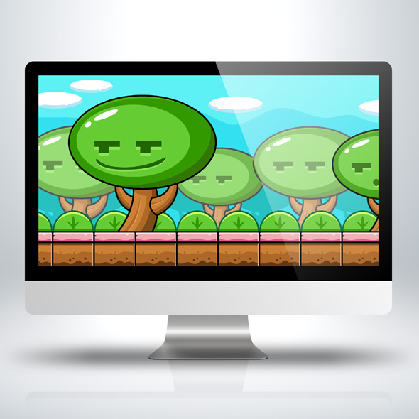 Fancy forest and smiling trees Game Background with game obstacles for Game Developers