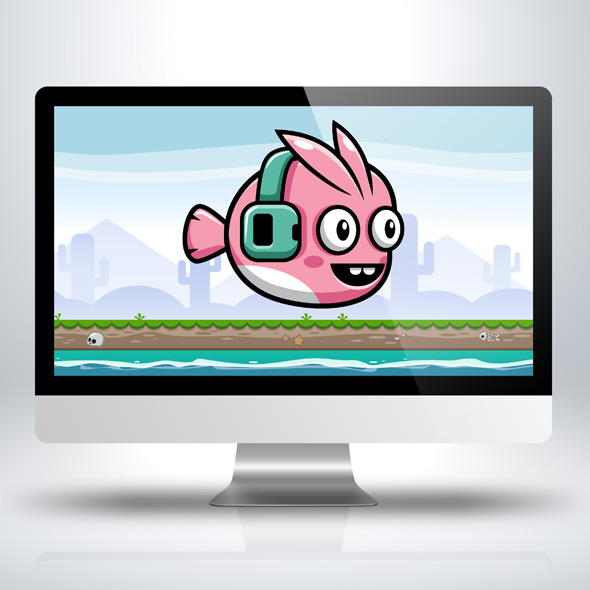 Fish with Music Earphone game character sprite sheets for game developers.
