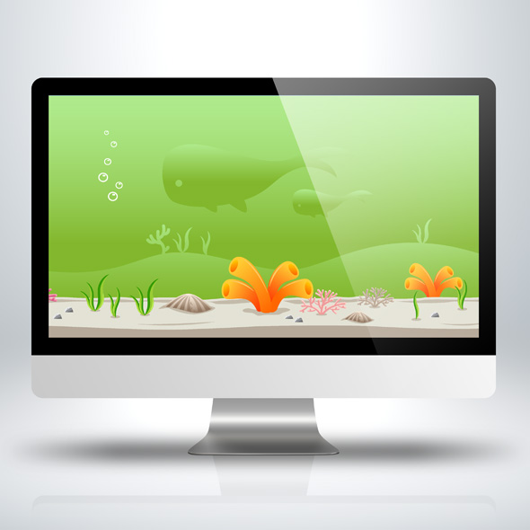 Under water green ocean Game Background for Game Developers