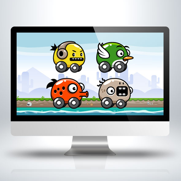 four-monster-cars-game-character-sprite-sheets-game-asset