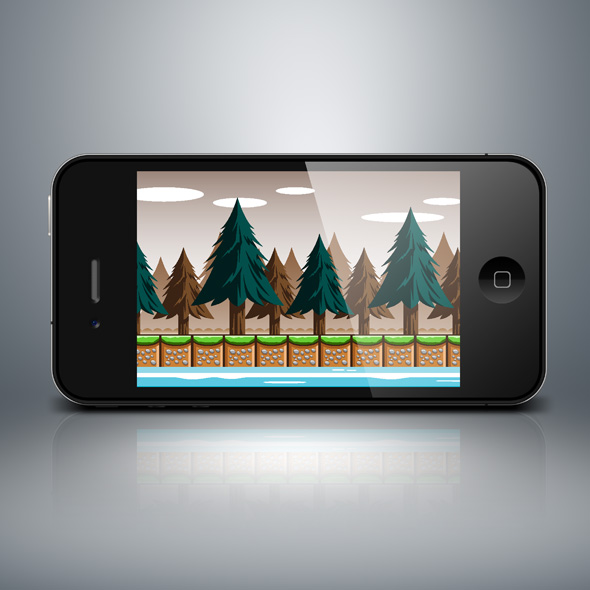 Pine trees game background for game developers