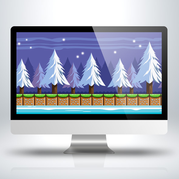 Snowy winter pine forest game background for game developers