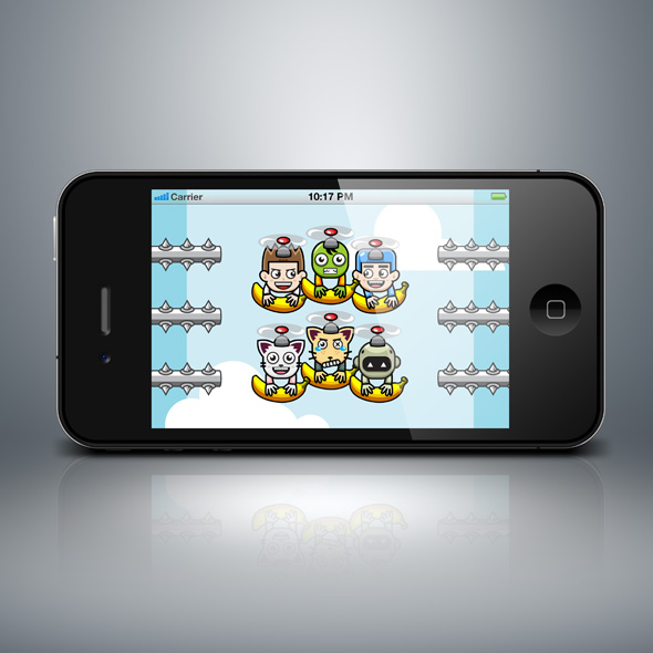 vertical game adventure. Banana and copter heroes game character
