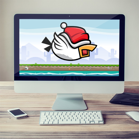 Flappy bird with santa hat game character sprite sheets