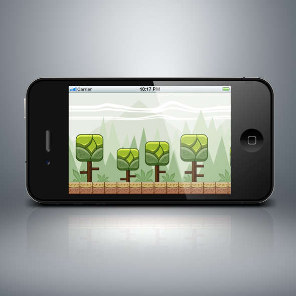 Square tree forest game background for game developers
