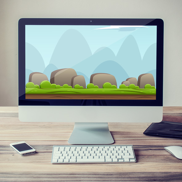 Nature landscape game background for game developers