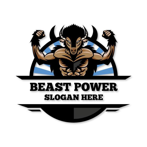 Beast power logo template