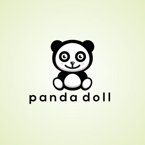 cute doll panda logo vector template