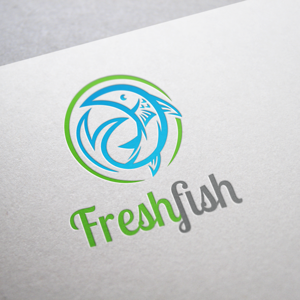 fresh fish logo vector template