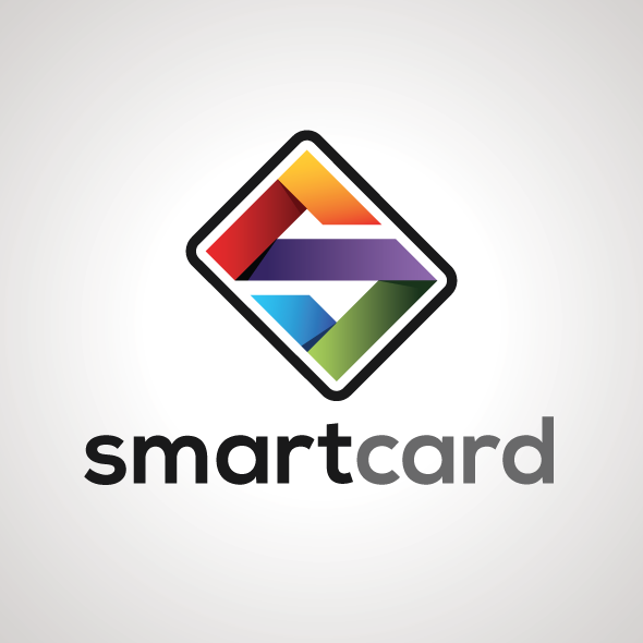smart card logo template in vector format with ribbon style
