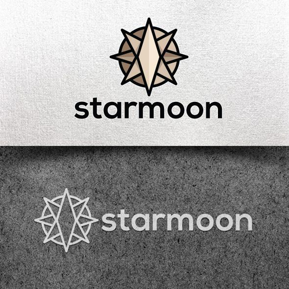 star moon logo template vector