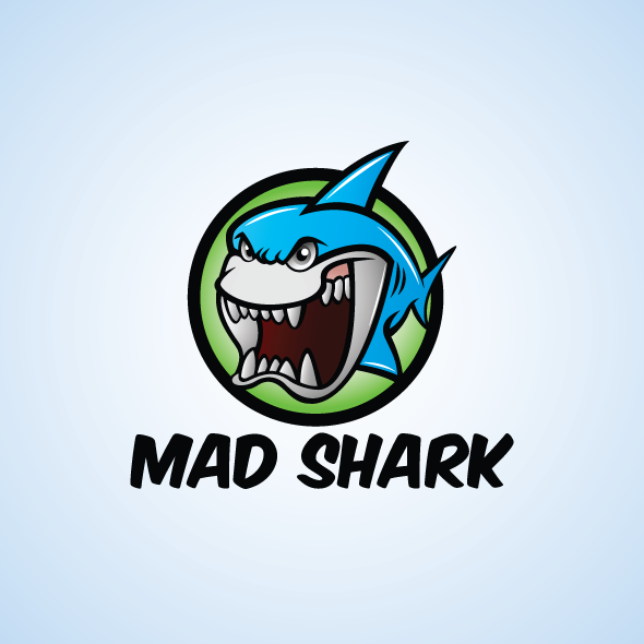 Cartoonish Mad Shark Logo