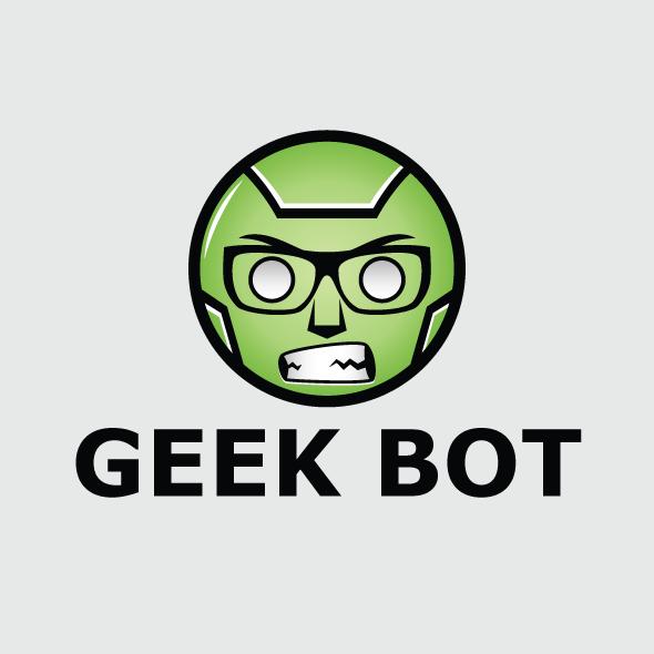 geek bot logo vector template