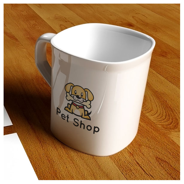 pet shop logo template vector - dog mascot in mug