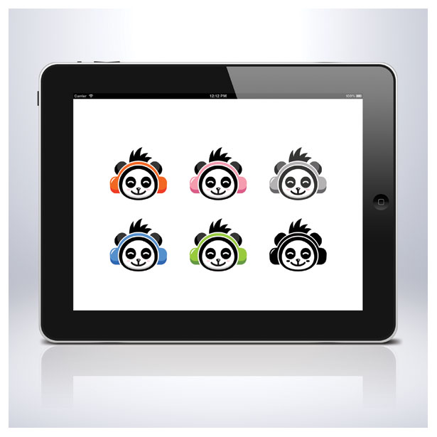 music-panda-animal-song-sing-earphone-logo-template-5