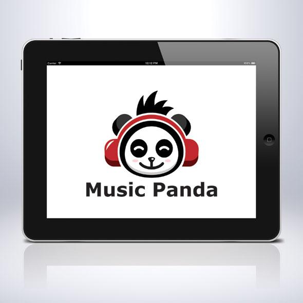 music-panda-animal-song-sing-earphone-logo-template-bevouliin