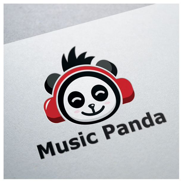 music-panda-animal-song-sing-earphone-logo-template-one