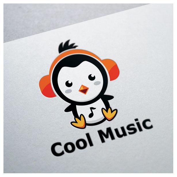 penguin-music-ice-sea-polar-logo-template-one