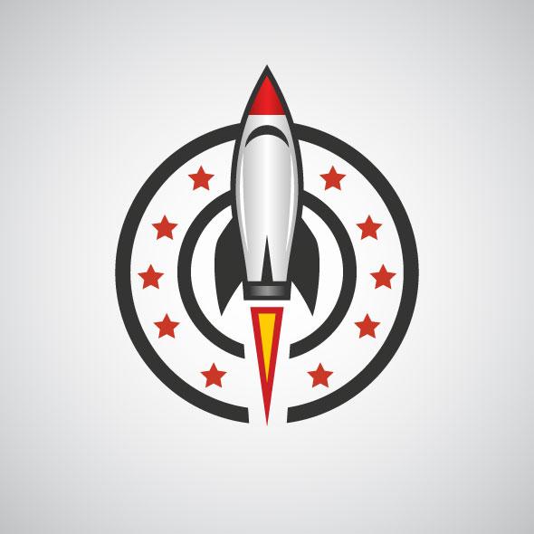 stars sky rocket logo template