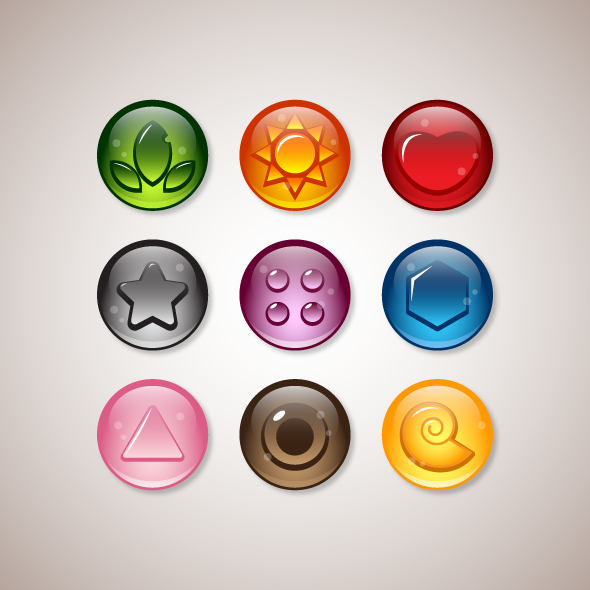 Game Asset - Glowing Marbles for Bubbles Game