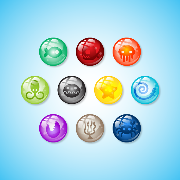 Game Asset - Deep Ocean Creatures Marbles