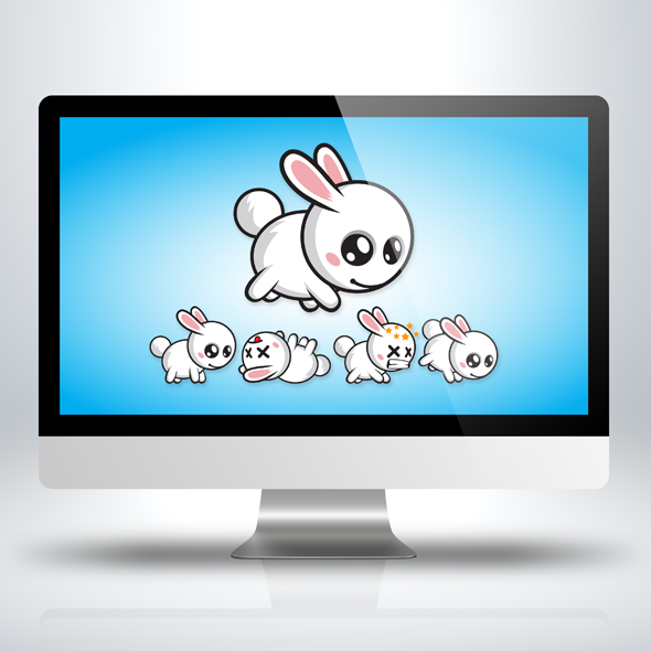 Game Character - Cute Rabbit for Action Games