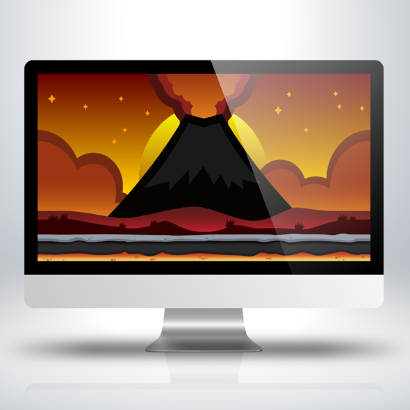 SideScroller Game Background - Volcano