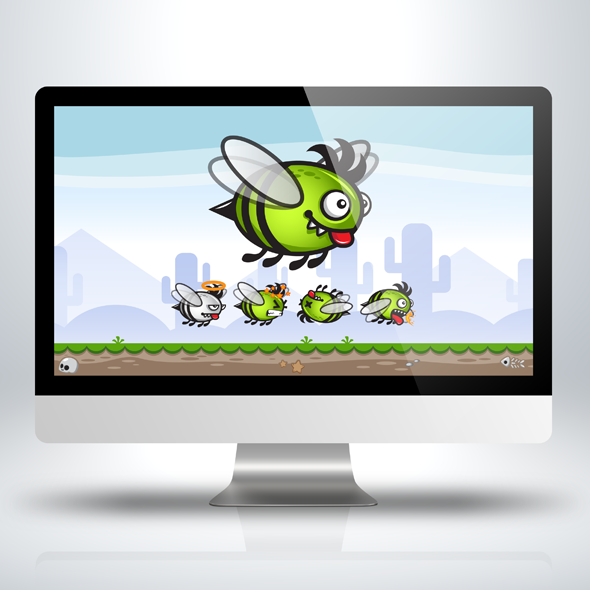 green-bee-game-character-sprite-sheet-sidescroller-game-asset-flying-flappy-animation-gui