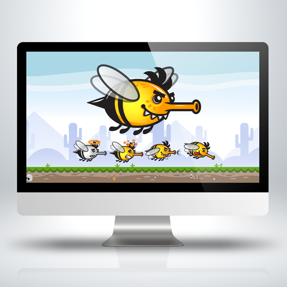 Bugs Game Asset - Shooter Bee Insect Game Character Sprite Sheets