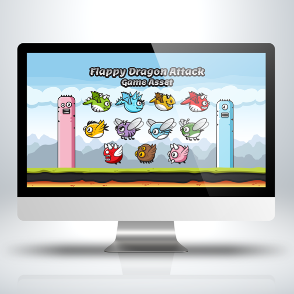 Game Asset - Flappy Dragons Attack Game Character Sprite Sheets