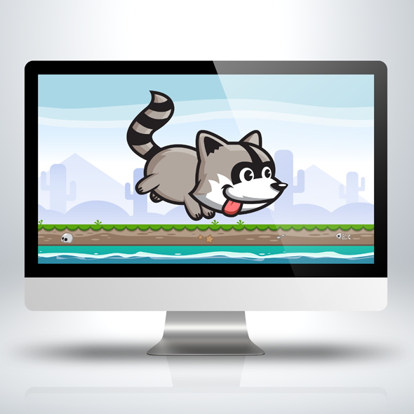 Running and Jumping Raccoon Game Character Sprite Sheets