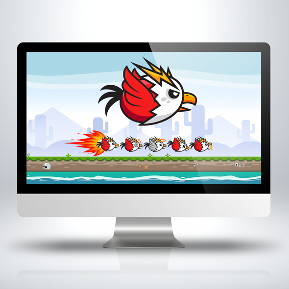 Red Angry Flappy Bird Game Character Sprite Sheets
