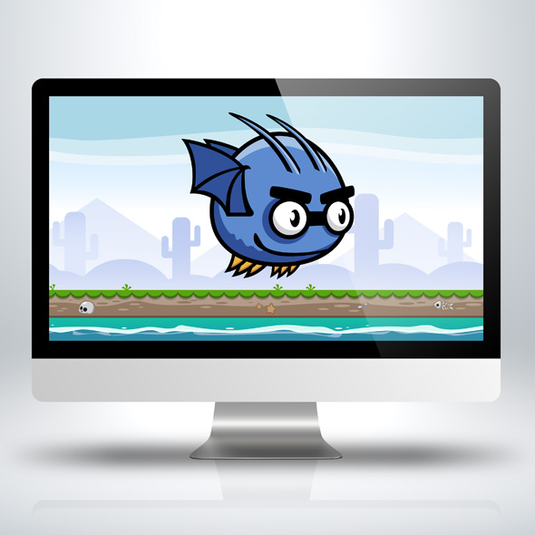 Game Character - Flappy Blue Bat Sprite Sheets