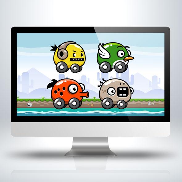 Game Villain - Four Monster Cars Sprites