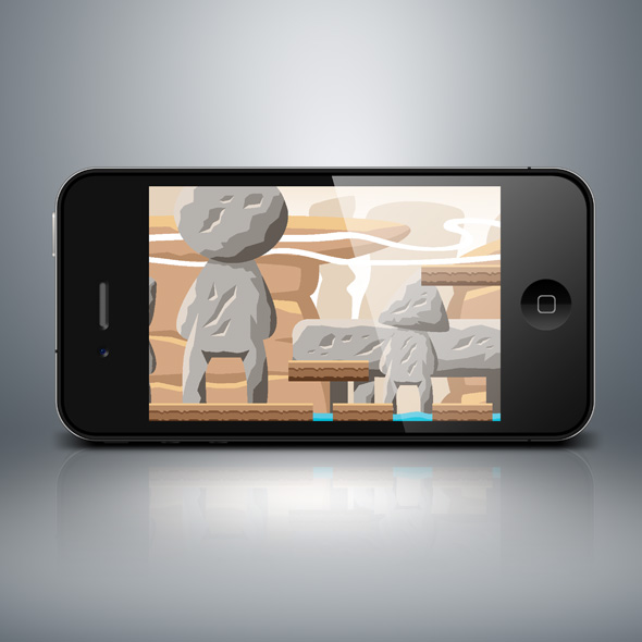 Desert statue game background for game developers