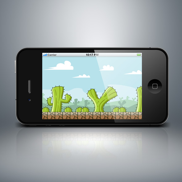Cactus island game background for game developers