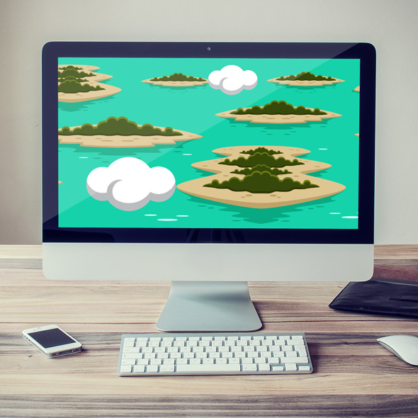 Islands and ocean game background for game developers