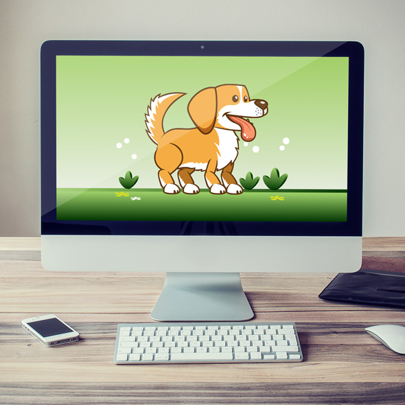 Running & Jumping Goldie The Dog Game Character Sprite Sheets